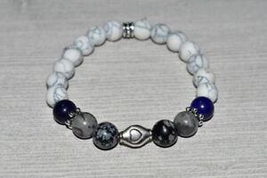 Snowflake Obsidian, Grey Jasper, Lapis Lazuli, Howlite Bracelet