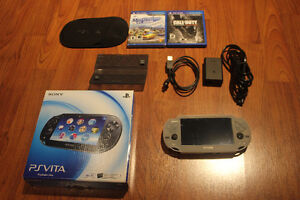 Black PS Vita (Model PCH-1001) w/Case 2 Games and 2 Cards