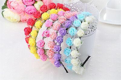 Haarreif mit Rosa Blume Krone Fest Hochzeit Girlande Haarband (Rosa Damen Haar)