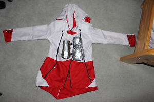 Assassin's Creed Red and White Hoodie + Rubber Hidden Blade.