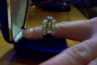 Engagement ring with 2 matching diamond wedding bands