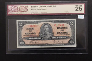 Canada 1937 $2 Bank Note