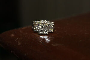 14kt White Gold and Diamond Engagement and Wedding Ring Set