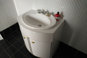 Bathroom Vanity - White Melamine, Curved, Small, Drop In Sink