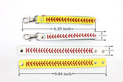 Genuine Leather Baseball Bracelets & Key Chains Fashion Snap Softball - Baseball Bracelets