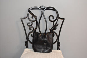 Black Leather Bucket Bag Made in Spain