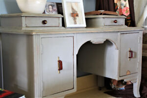 ANTIQUE CABINET, REFINISHED, HAND PAINTED, FRENCH COUNTRY STYLE