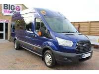 2014 FORD TRANSIT 460 TDCI 125 L4 H3 TREND 17 SEAT BUS LWB HIGH ROOF DRW RWD MIN