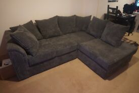 Almost new Jumbo Cord Right Hand Corner Sofa and Footstool