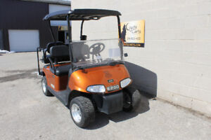 2014 EZGO RXV Electric Golf Cart in Orange with NEW Black Seats