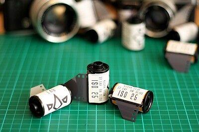 5x Kodak B&W 35mm film. ISO 25, Standard processing, like plus-x double xx movie