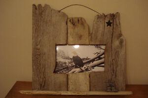 Folk Art  Drift wood Framed  Eagle