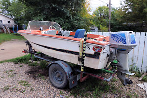 For Sale: 14 Foot Boat With 50HP Motor and trailer