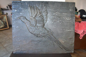 ANTIQUE Pheasant CAST IRON Decorative frame 25 X 21 X 0.5 INCHES