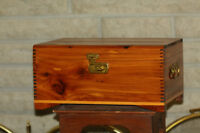 Antique Red Cedar Chest-Small Wood Box- Wooden Home Accent Decor
