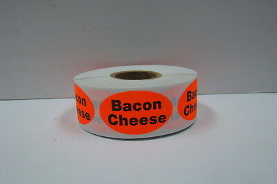 500 Oval Labels .875x1.25 Brred Bacon Cheese Food Packaging Retail Stickers