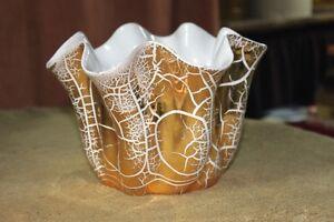 L Bertsch Signed 22K Gold Painted Crackle Flower Pot