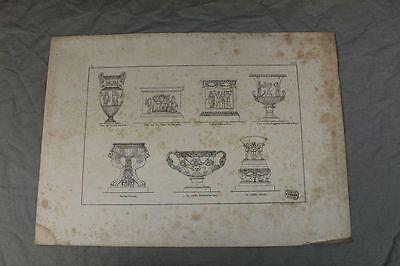 Bildtafel um 1865 - Antike Tempel und Vasen Darstellungen - L. Nitschmann Berlin