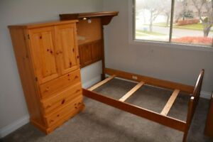 Solid wood twin bedroom set with dresser and wall mount cabinet