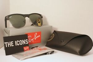 Ray Ban Clubmaster Oversize - Mat Black and Silver
