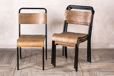 STRAIGHT LEG STACKING CHAIRS WITH PLYWOOD SEAT VINTAGE BLACK FRAMED CHAIRS