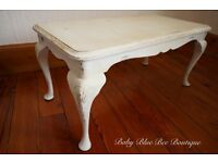 White Vintage Small Coffee Table French Ornate Shabby Chic