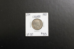 Canada 1910 25 Cent Coin