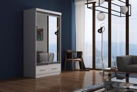 SLIDING DOORS MARGO WARDROBE 180CM WITH DRAWERS AVAILABLE IN BLACK/WHITE FOR SAME DAY DELIVERY