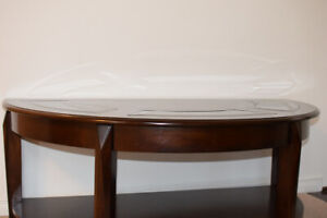 Semi - Circle Wooden Coffee Table with Glass
