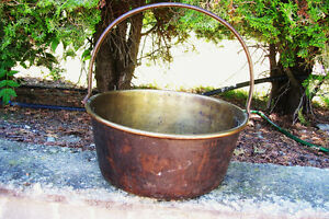 Antique Brass Jelly Pail with Iron Handle $85.00