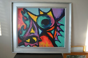 ABSTRACT OIL ON CANVAS OIL PAINTING  30 X 26 INCHES