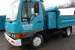 HINO DUMP TRUCK WITH FOLD DOWN SIDES AND LARGE TOOL BOX