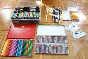Pastels, Pinceaux, Conté, Crayons grahite, Canson, Staedtler, Sa