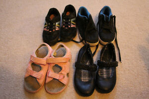 4 pairs of girls size 13 and 13 1/2 shoes, sneakers and sandals