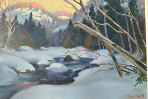 LISTED ARTIST TOM HALL OIL ON BOARD WINTER PAINTING EXCELLENT Gatineau Ottawa / Gatineau Area image 3