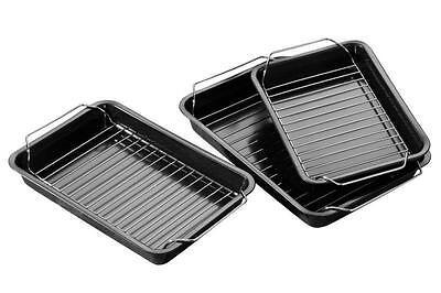 Set Of 3 Rectangular Non-Stick Roasting Baking Dish Tray With Rack