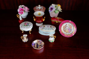 Limoge and Crown China Various Decorative Pieces