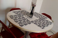RETRO Round Arborite Table AND 4 RED Chairs