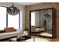Huge Bed Sale - Ends Soon Modern 2 Sliding Door Wardrobe Mirror CHICAGO Optional LED 120/150/180/203