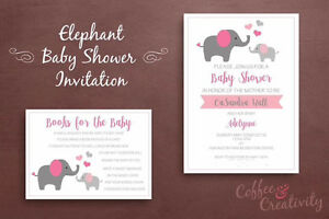 Custom Printable Baby Shower Invitation Set - Elephants
