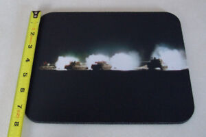 Leopard Tanks Firing at Night - Mouse Pad