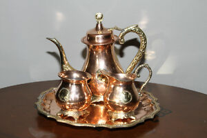 Copper and brass tea set