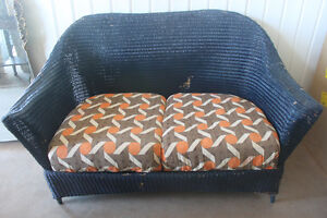 Antique Wicker Set ( loveseat & 2 matching chairs )