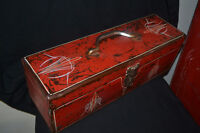 Vintage hand pinstriped metal tool boxes + more items - $40 & up