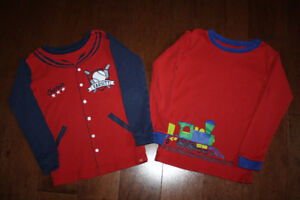 2 Baby GAP Long Sleeve Pyjama Shirt - Train/Baseball -5T
