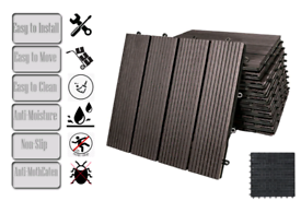 Chocolate Brown Interlocking Decking Tiles