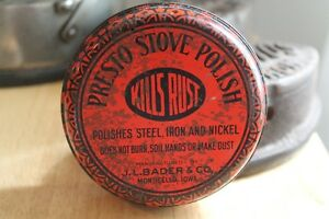 Presto stove polish tin