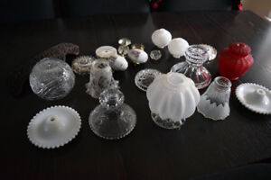 Antique Glass Lamp Shades Victorian LOT - 20 parts/pieces
