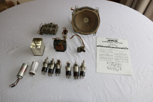 Antique radio tubes and speaker for car radio. 1939 Plymouth