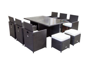 11 piece Outdoor Patio Furniture Dining Dinner Set Wicker